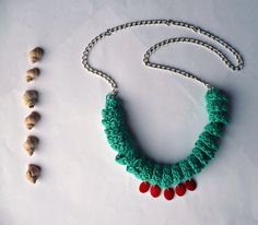 Crochet necklace / Textile jewelry / by littlechaosdesign on Etsy, $36.00