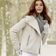 Sheepskin Biker Jacket | The White Company US. The ultimate statement jacket this season, our sheepskin biker, made from Merino sheepskin, has a beautifully plush look and feel. Pinning from the UK? -> http://www.thewhitecompany.com/Sheepskin-Biker-Jacket/p/SBCBJ?swatch=Ivory