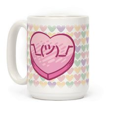 Shrug Emoticon Conversation Heart - Whether it's valentines day or life in general, show your indifference with this cute conversation heart mug. Perfect for college days when you wanna look cute and also like you don't care, excellent for napping and a lazy cup of tea or coffee, fabulous for making a kawaii point wherever you may go!