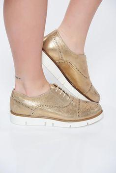 Pantofi auriu casual din piele naturala cu talpa joasa cu siret -  - www.iconly.ro
