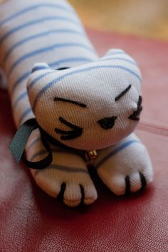 Upcycled Handmade Soft Plush Kitty Toy Toby the Sock by milophoto