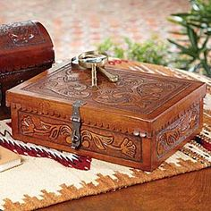 """COLONIAL Leather BOX  Hand-tooled leather box for your dresser or vanity stores jewelry, trinkets, and other tiny treasures. Hand tooled leather makes each box unique. 9""""w x 13""""d x 5""""h. krsaddleshop"""