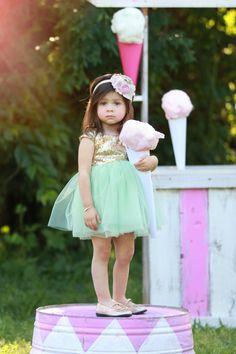 Mint & Gold Sequin Cap Sleeve Dress - Kutie Tuties - Flower Girl, Sequins, Aqua, Kutie Tuties