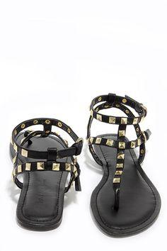 Rock Star Stunner Black Studded Thong Sandals at Lulus.com!
