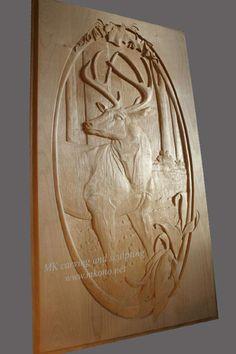 Full Panel Deer Carved Door