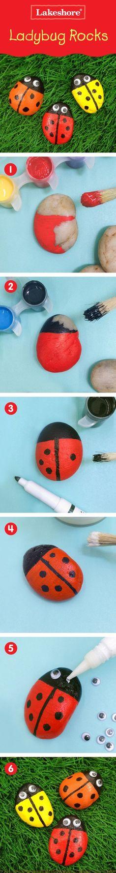 Ladybug Painted Rocks Tutorial