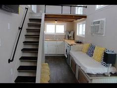 Mini Mansions Tiny House Has All The Creature Comforts - YouTube  I like this tiny house but where to store clothes and manchester?