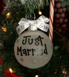 Just Married ornament, Just married, mr. and mrs., Ornament, christmas ball, Wedding, wedding gift. $14.00, via Etsy.
