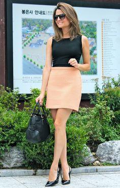 Love that coral/peach skirt.