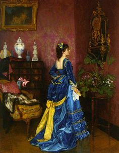 1872 The Blue Dress, Auguste Toulmouche | How to re-create it (blog)