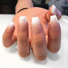 Ombre Pink And White Coffin Nails Nails In 2019 White Nails