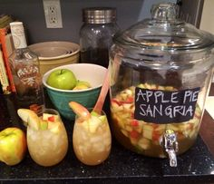 Apple Pie Sangria ~ The absolute best drink for fall! This cocktail is amazing!  2 bottles (standard size) white wine, Try Chardonnay 5 cups fresh apple cider 2 cups ginger ale 2 cups caramel vodka 3 honey crisp apples, chopped 3 pears, chopped 2 cinnamon sticks  Instructions: Cut the fruit and place in the bottom of your pitcher or jug. Combine all of the ingredients except the cinnamon sticks. Stir,  Let sit overnight (or at least a couple hours) about 4 hours bef