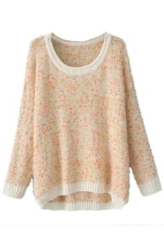 ROMWE | Contrast Trimming Asymmetric Loose Pink Jumper, The Latest Street Fashion