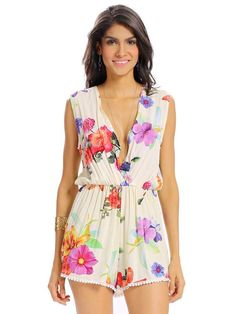 Women Sexy Floral Print Deep V Loose Sleeveless Lace-up Jumpsuit