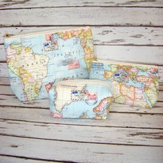 World Map Travel Makeup Cosmetic Toiletry Wash Bag