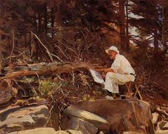The Artist Sketching by John Singer Sargent, Oil on canvas