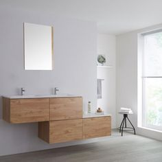 Milano Oxley - Oak Wall Hung Stepped Vanity Unit with Basin - Bathroom Shop, Big Bathrooms, Modern Bathroom, Countertop Basin, White Countertops, Oak Vanity Unit, Led Furniture, Basin Taps, Wall Mounted Vanity