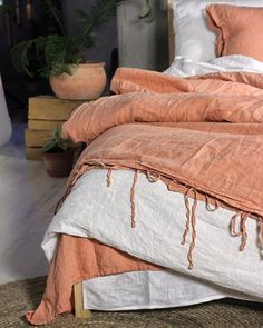 A Pair Of Pink Linen Pillow Cases With Mermaid Long