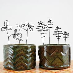 Herb Pots small ceramic seed starter pots set of two by hadleyclay, $16.00