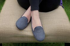 Our grey flannel earthing AKA grounding shoe, DIDO, $139.  The short story is they're stylish, comfortable and grounding; for more information, see http://www.pluggz.com/Pluggz-Womens-DIDO-Flannel-Loafers-p/dido-gfl.htm