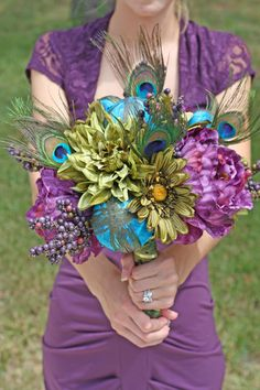 MADE TO ORDER - Peacock Wedding Bouquet - Purple Peacock Feather Bouquet