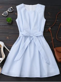 Sleeveless Striped Bowknot Dress - Blue Stripe S Cute Dresses, Casual Dresses, Casual Outfits, Fashion Dresses, Summer Dresses, Casual Clothes, Basic Clothes, Style Clothes, Look Fashion