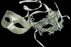 Couple's Masquerade Mask Set - His & Her's Matching Metal Filigree Laser Cut Masquerade Mask on Etsy, $66.84 CAD