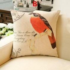 American country style birds decorative pillows for home decoration modern minimalist animal linen sofa cushions