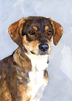 Custom Dog Watercolor Painting 5x7 Realistic Pet by studiotuesday