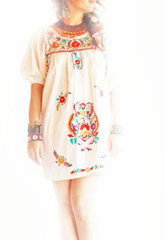 ~Aztec Mexican ethnic dress flowers embroidered tunic 3/4 Puff style sleeve    In a flirty state of mind from morning until night, this gorgeous