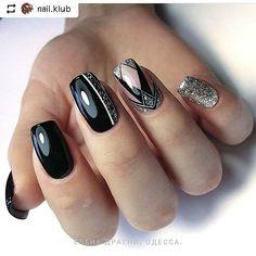 Natural Acrylic Black Almond & Square Nail Designs For Short Nails - Page 9 of 33 - Nail art Square Nail Designs, Black Nail Designs, Short Nail Designs, Nail Art Designs, Nails Design, Diy Nails, Cute Nails, Pretty Nails, Shellac Nails