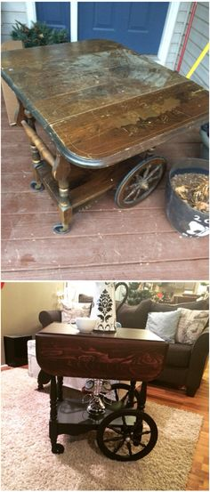 Before and after of a vintage drop-leaf tea cart, painted black with a black cherry stained top.