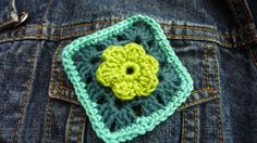 Granny square brooch pin with flower detail by crochetclare, £9.50