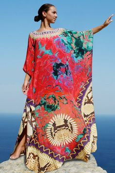 $540.00 Noble red silk Kaftan wild flowers python skin. Fleurs Sauvages. Order here www.victorialuxurysilk.com EXCLUSIVE COLLECTION ON KAFTANS 100% PURE SOFT SILK FROM FRANCE