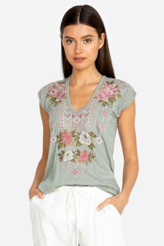 Make your boho dreams come true with the Yuki Deep Scoop T-Shirt. The cotton/poly blend on this tee makes this a go-to shirt for any season. Colorful embroidery adorns this tee and the v-neck adds to the chic silhouette. Wear this tee with jeans or dress Bootie Sandals, Long Sleeve Romper, Peasant Blouse, Johnny Was, The Chic, Black Hoodie, Summer Outfits, Summer Clothes, Leggings Are Not Pants