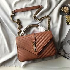 Saint Laurent Medium College Bag In Crinkled Matelasse Leather Brown Outlet Yves Saint Laurent Cheap Sale Store Kate Spade Handbags, Gucci Handbags, Luxury Handbags, Leather Handbags, Ysl College Bag Medium, College Bags, Saint Laurent, Cute Purses, Purses And Bags
