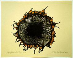 sunflower woodcut print, wouter ten brouk