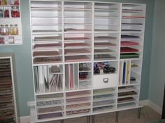 Scraproom: Scrapbook paper storage Could do this in the closet
