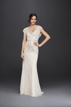 Beaded sheath wedding dress by Wonder by Jenny Packham
