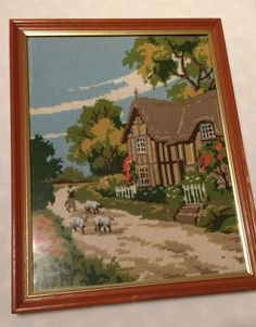 Vintage framed completed needlepoint tapestry thatched cottage farmer/sheep