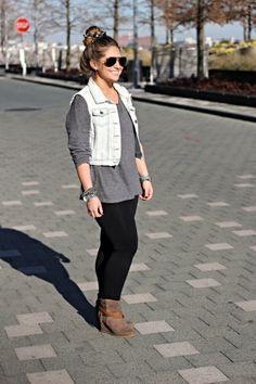 denim vest + chunky sweater for fall