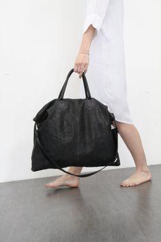 Black Leather Over Size Tote Bag / Shoulder Bag / Travel Bag / Crossbody Leather Bag