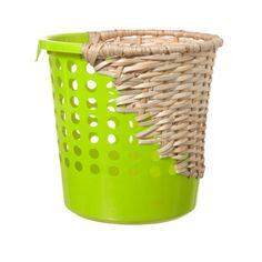 """Franken-basket. """"Cordula Kehrer worked with German artisans to repaired broken/leaking plastic dustbins."""" The baskets are mended with """"'patches made from willow, rush and rattan.'"""" Quoted from link"""