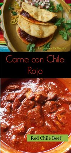 Carne Con Chile Rojo (Beef and Red Chile) - Food: Veggie tables Authentic Mexican Recipes, Mexican Food Recipes, Mexican Desserts, Real Mexican Food, Mexican Cooking, Chile Rojo Recipe, Carne Con Chile Recipe, Chile Colorado Recipe Beef, Chilli Recipes