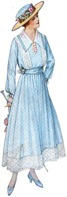 Woman's Home Companion, June 1916.  The color and lace detail skew this to the juvenile, but in a different color or slightly heavier weight, would tip nicely to the grownup side of the scale.  The wrists have miniature belts (so cute and clever), and the red at neck is echoed at waist, wrist, and purse.  We can't see it, but I bet the parasol has a touch of red on it at the tip.