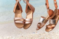 Metalic sandals from our summer collection. From left: 'Finch' rose gold and 'Cuckoo' tan. Shop now: www.bared.com.au #summer #beach #baredfootwear #sandals #womensshoes #metalicsandals #tansandals