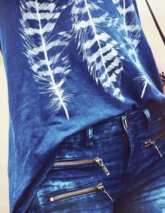 read my mind blue feather tank and perfect denim jeans street style done right