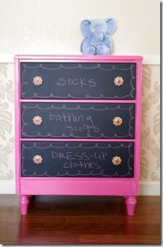 Chalkboard drawers. Outside in white or grey with purple chalkboard paint drawers.