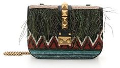 Valentino 'Small Lock' Feather & Bead Embellished Woven Shoulder Bag