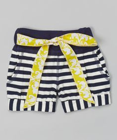 Love this Yellow & Navy Stripe Pocket Shorts - Infant, Toddler & Girls by Beehave on #zulily! #zulilyfinds